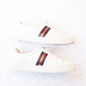 Bar III Shoes - Bar III | Gal White Zipper Retro Slip On Sneaker